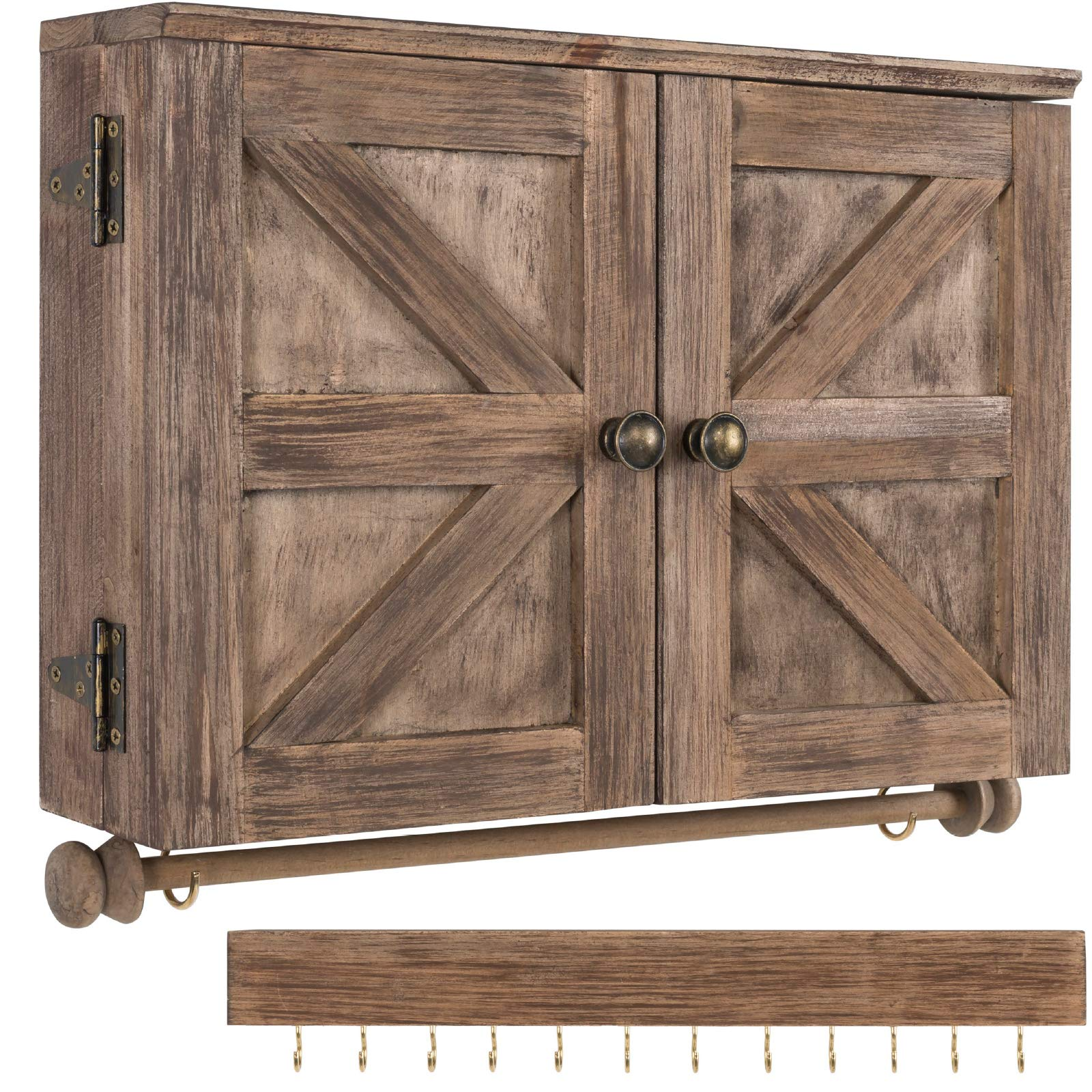 Rustic Wall Mounted Jewelry Organizer with Wooden Barndoor Decor ...