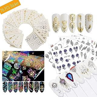 AIFAIFA 76 Sheet Nail Art Sticker Decals, DIY Nail Art Decoration, Nail Stickers, with 4 Style Water Decals, Flower Decals, Golden Decals, Dreamcatcher Style Decals, a Tweezers