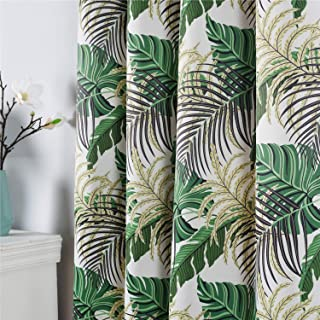 Fresh Country Style Printed Design Room Darkening Blackout Curtain Panels Grommet Top, 2 Panels , W52 x L84 inch Tropical ...