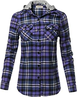 Awesome21 Women's Casual Flannel Roll-Up Sleeve Button-Down Shirts with Hoodie