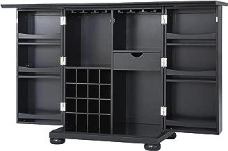 Crosley Furniture Alexandria Expandable Top Bar Cabinet, Black