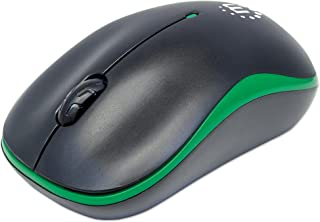 Manhattan Success Wireless Mouse, Black/Green, 1000dpi, 2.4Ghz (up to 10m), USB, Optical, Three Button with Scroll Wheel, ...