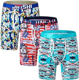 JINSHI Bamboo Cooling Underwear Men, Boxer Briefs for Men Pack