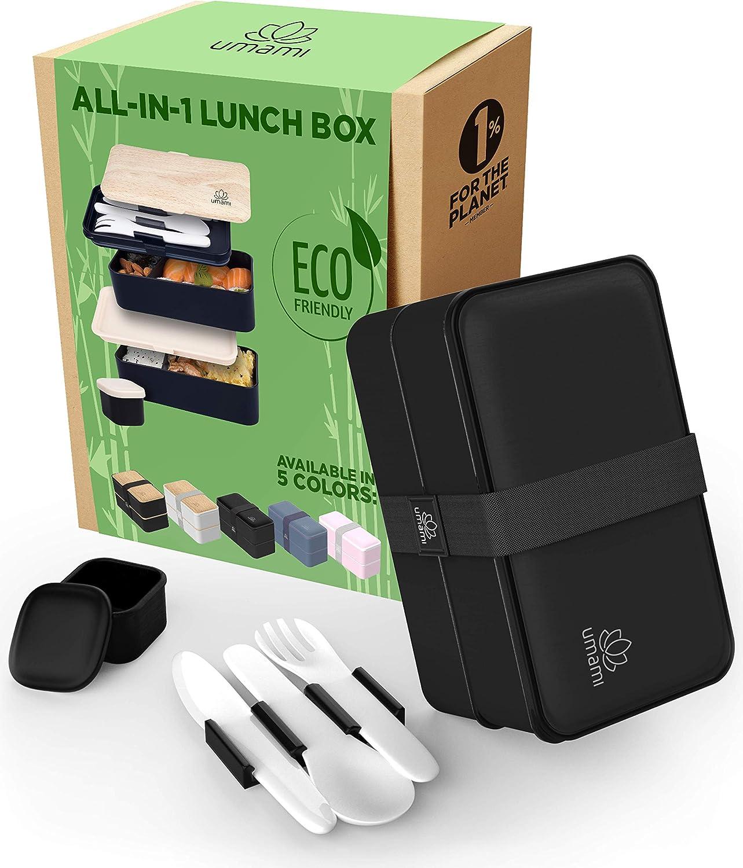 UMAMI Bento Lunch Box , 2 Recipiente 3 Cubiertos , Tupper Compartimentos Estilo Bento Box Japonés , Porta Alimentos Hermético , Microondas y Lavavajillas , Fiambrera Para Adultos/Niños , Zero Waste