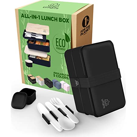 UMAMI All-in-One Bento Box for Adults/Children, 1 New Sauce Pot, 3 Full Cutlery Set & 2 Dividers Included, 2 Meal Prep Lunch Box Food Containers for Men/Women, Microwave, Dishwasher & Freezer Safe