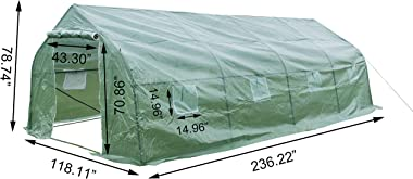 GOJOOASIS Greenhouse Walk-in Green Garden Hot House Outdoor Large Portable Arch Gardening Plant Shed (20'x10'x7')