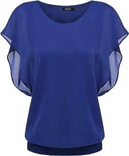 Women's Chiffon Loose Lace Batwing Short Flutter Sleeve Blouse Tops