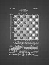Framable Patent Art Original Vintage Checkboard Boardgame 18in by 24in Patent Art Poster Print Black Blueprint PAPSP161BB