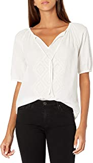 Lucky Brand Women's Short Sleeve V Neck Embroidered Peasant Top