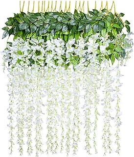 12 pcs/lot Fleurs Artificielles Décoration de la Maison chaque Mèche 110 cm artificiel Wisteria Fleur en soie pour mariage...