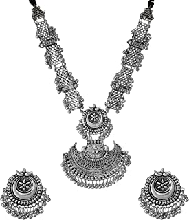 Total Fashion Afghani Style Oxidised Silver Ghungru Jewellery Chain Pendant Necklace Set for Women & Girls