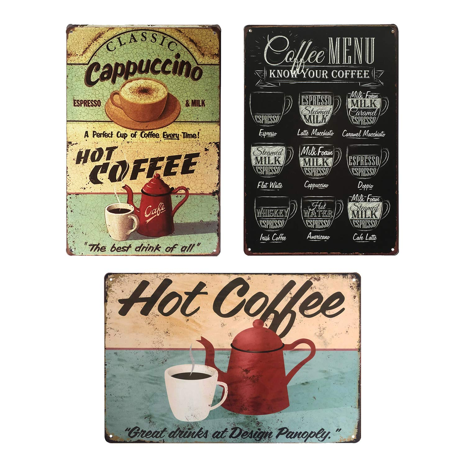 UNIQUELOVER Coffee Signs Kitchen Decor, Hot Coffee, Cappuccino & Menu Retro  Vintage Garage Metal Plaque for Cafe Bar Pub Shop Beer Club Home Wall