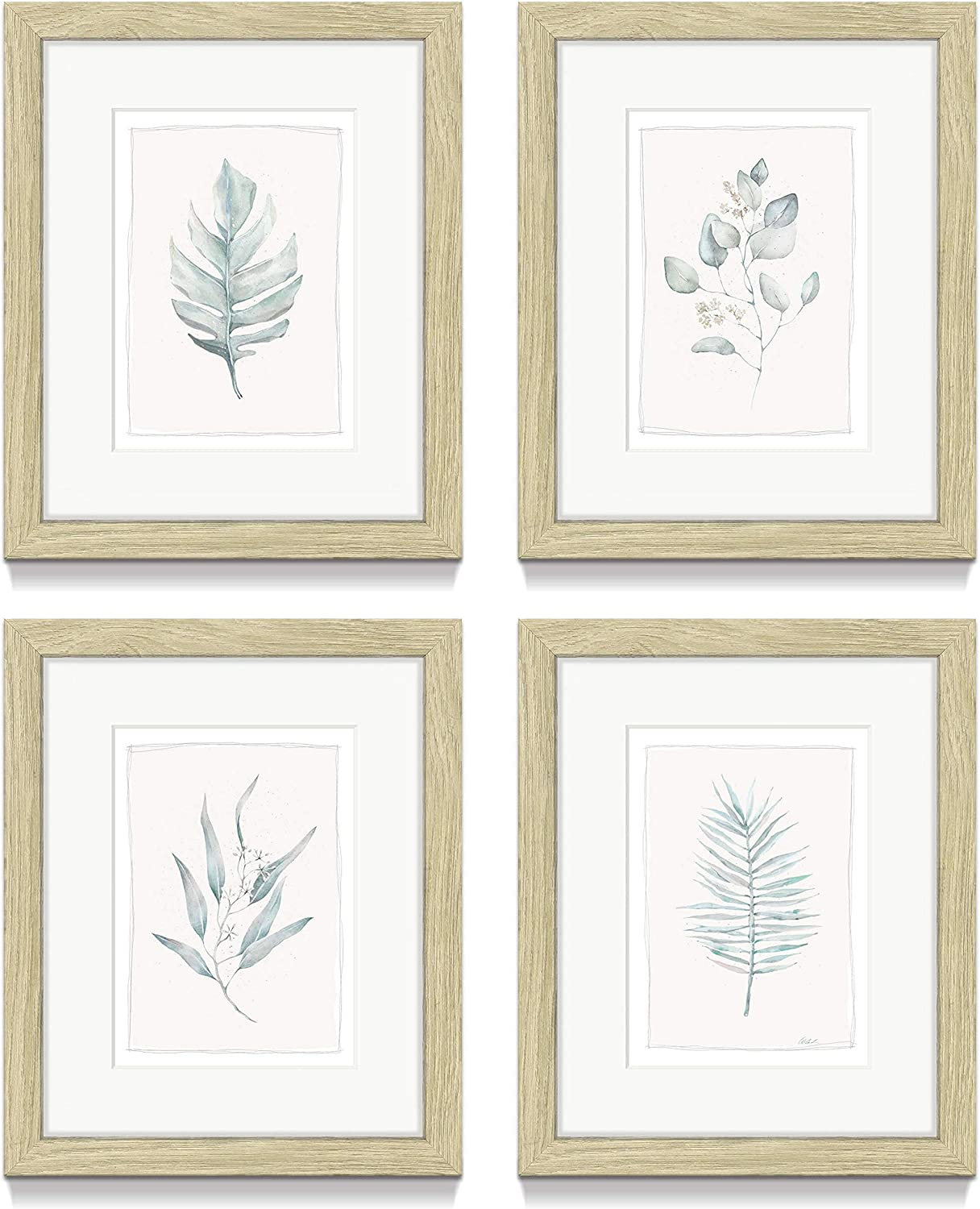 Minimalist Leaf Framed Wall Art – Set of 4 Simple Aesthetic Botanical Picture Prints with Beige Frame for Decor Contemporary Bedroom or Kitchen(8'' x 10'' x 4 Panels)