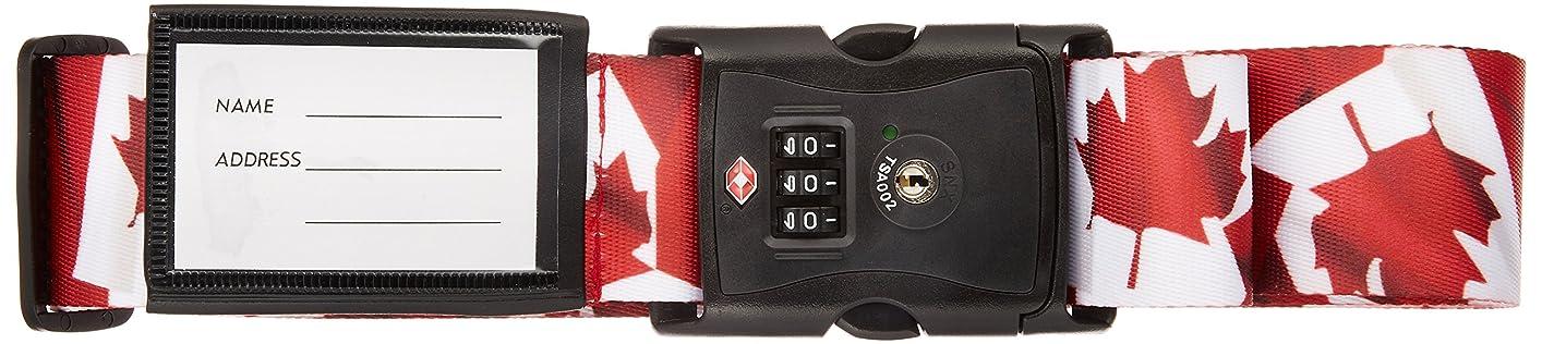 深遠通訳メナジェリーTSA ロック付き スーツケース ベルト (ネーム タグ 付き) ワールドフラッグ カナダ