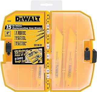 DEWALT Reciprocating Saw Blades, Bi-Metal, Tough Case Set, 15-Piece (DW4890)