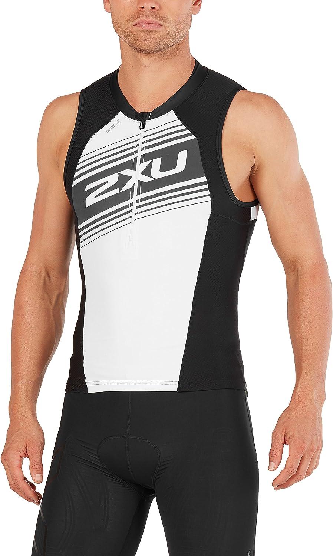 (Medium, Black White Logo Graphic)  2XU Mens Compression Tri Singlet