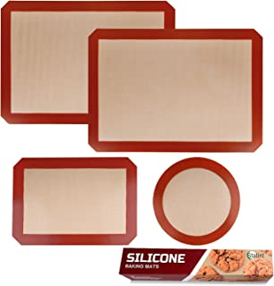 STATINT Lot de 4 à 2 tapis de cuisson en silicone anti-adhésif + 1 feuille réutilisable + 1 tapis rond pour moule à gâteau...