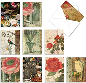 The Best Card Company - 10 Blank Flower Cards Boxed (4 x 5.12 Inch) - Assorted Floral Notecard Set - Secret Garden M6727OCB