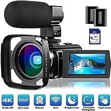 """دوربین فیلمبرداری 4K دوربین فیلمبرداری Rosdeca Ultra HD 48.0MP فای دوربین دیجیتال IR Night Vision 3.0 """"IPS صفحه نمایش لمسی 16X زوم دیجیتال با میکروفون خارجی، لنز زاویه، هود لنز و 2 باتری"""