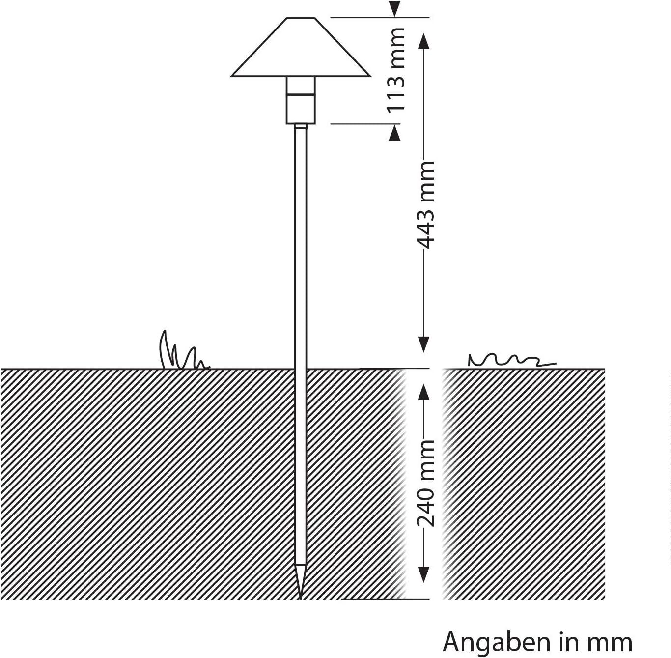 ledscom.de LED Gartenleuchte Hastam II schwarz mit Erdspieß für außen, IP65, 100lm, kalt-weiß, 5er Set 8er-set