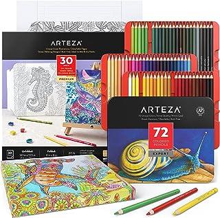 مجموعه مداد رنگی و کتاب رنگ آمیزی آرتزا ، 30 ورق رنگ تاشو و 72 مداد رنگی ، قاب DIY ، لوازم هنری برای نوجوانان ، بزرگسالان