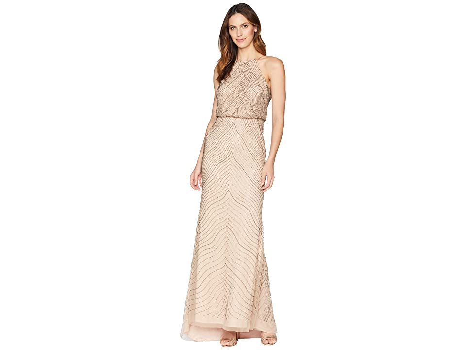 Adrianna Papell New Beaded Blouson Halter Gown (Taupe/Pink) Women