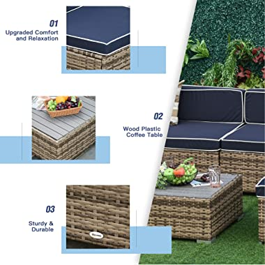 Outsunny 7-Piece Outdoor Wicker Patio Sectional Sofa Set, Modern Rattan Conversation Furniture Set with Cushions & Table,