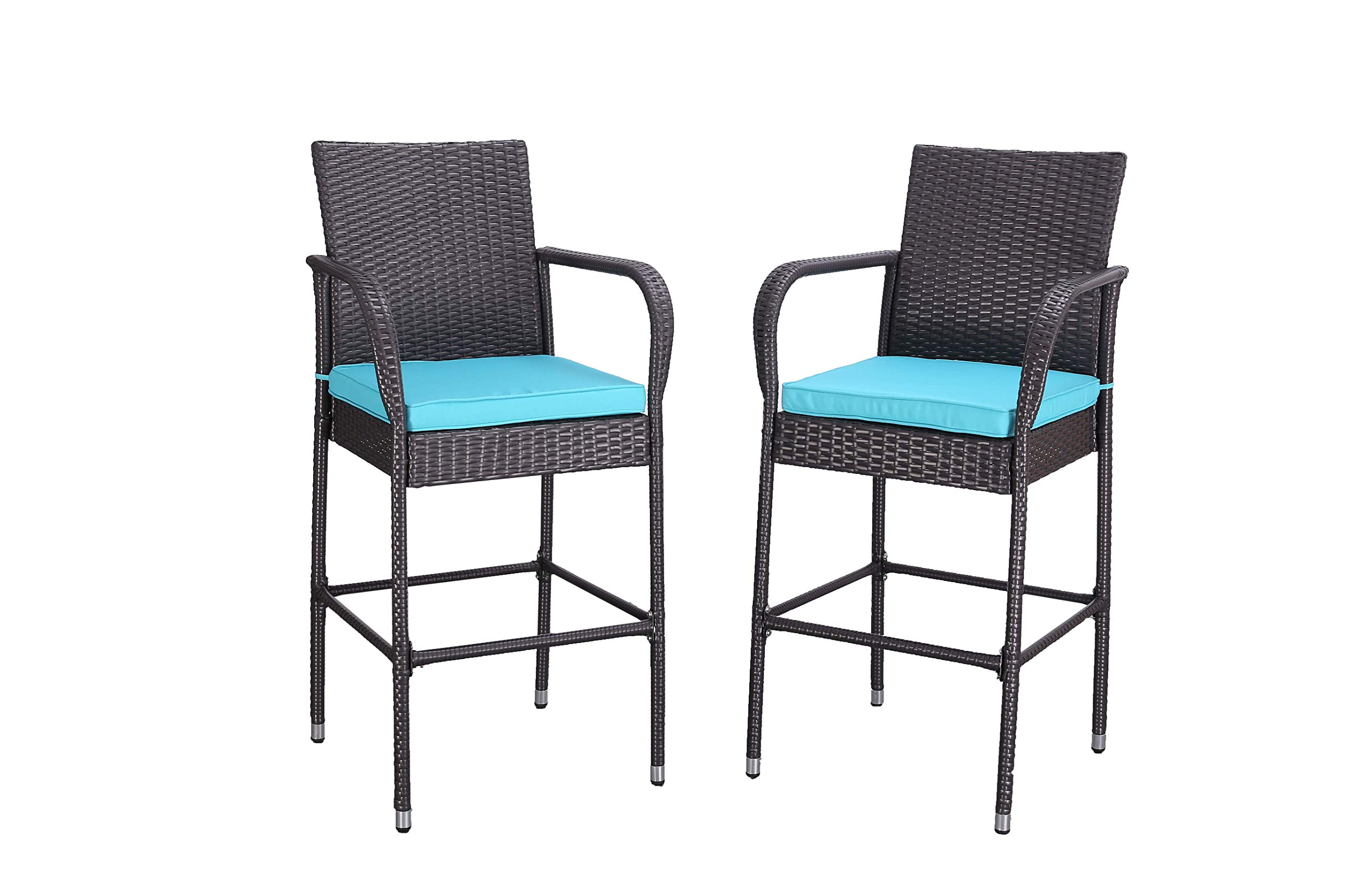 HTTH 9 Pieces Patio Bar Stools All-Weather Wicker Outdoor Furniture Chair,  Armrest Bar Chairs Footrest Barstools (Turquoise)