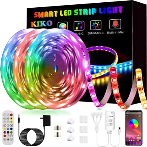 50ft/15M LED Strip Lights, Smart KIKO Led Lights Music Sync Color Changing Rope Lights SMD 5050 RGB Light Strips with...