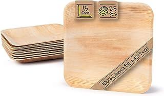 BIOZOYG Palmware Platos de Hojas de Palma I 25 Piezas de ojas de Palma Rectangular 15 x 15 cm I Bio vajilla desechable Boda compostable Biodegradable Vajilla de Fiesta