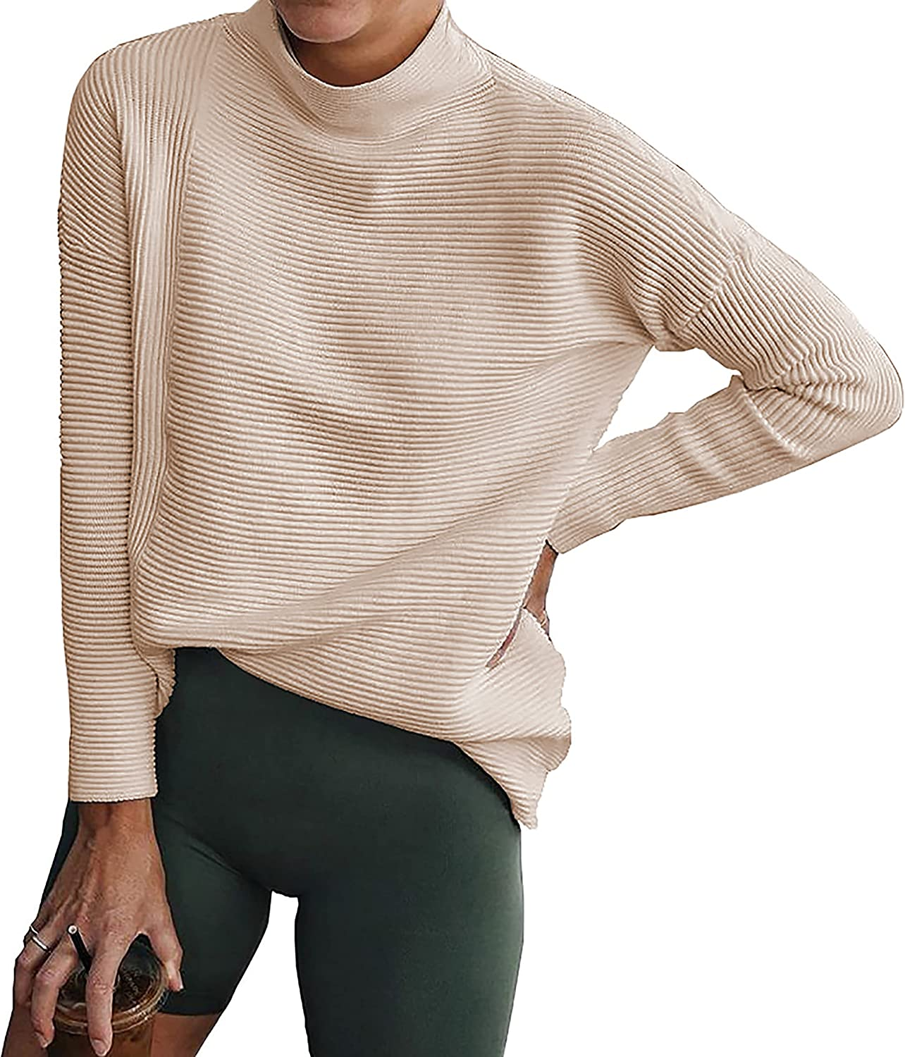 BTFBM Women Cozy Long Sleeve Turtleneck Fashion Sweaters Soft Solid Color Ribbed Knitted Casual Winter Pullover Sweater
