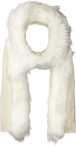 Fur Trimmed Jersey Scarf