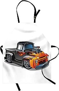 Lunarable Manly Apron, Cartoon Hot-Rod Truck Antique Old Model Automobile Transport Nostalgia Illustration, Unisex Kitchen Bib with Adjustable Neck for Cooking Gardening, Adult Size, Orange Black