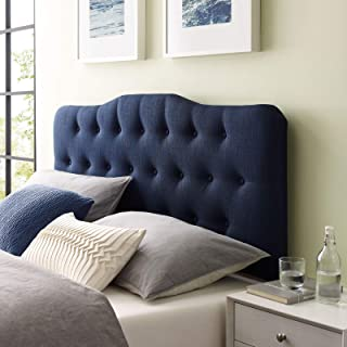 Modway Annabel Tufted Button Linen Fabric Upholstered King Headboard in Navy