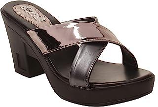 Feel it LeatheriteBlack Color Block Heel Slippers for Women's & Girl's