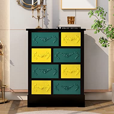 Retro 8-Drawer Apothecary Chest Traditional Storage Apothecary Drawer with Elegant Flower Carving for Livingroom Entrance