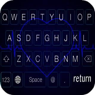 Blue Neon Heartbeat Keyboard