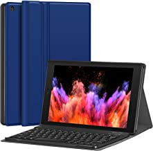 """Fire HD 10 Case with Keyboard - CHESONA Slim PU Leather Folio Stand Cover with Detachable Wireless Keyboard Case for Fire HD 10.1"""" (7th Generation, 2017 Release) - Blue"""