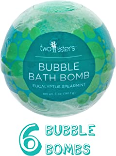 6 Eucalyptus Spearmint Bubble Bath Bombs by Two Sisters Spa. 6-5oz Large 99% Natural Fizzies For Women, Teens and Kids. Moisturizes Dry Sensitive Skin. Releases Lush Color, Scent, and Bubbles.