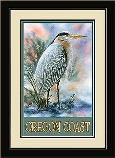 "Northwest Art Mall BA-4023 MFGDM GBH Oregon Coast Great Blue Heron Framed Wall Art by Artist Dave Bartholet, 13"" x 16"""