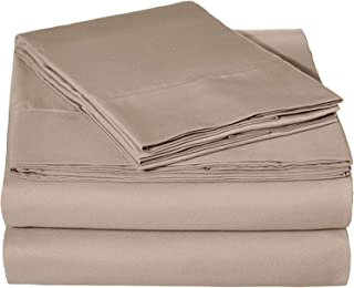 Tula Linen 1100 TC 100% Egyptian Cotton Sleeper Sofa Bed Sheet Set Solid fit Up to 9 Inch with 4 -PCS Fitted Straps Premium Quality (Queen(62
