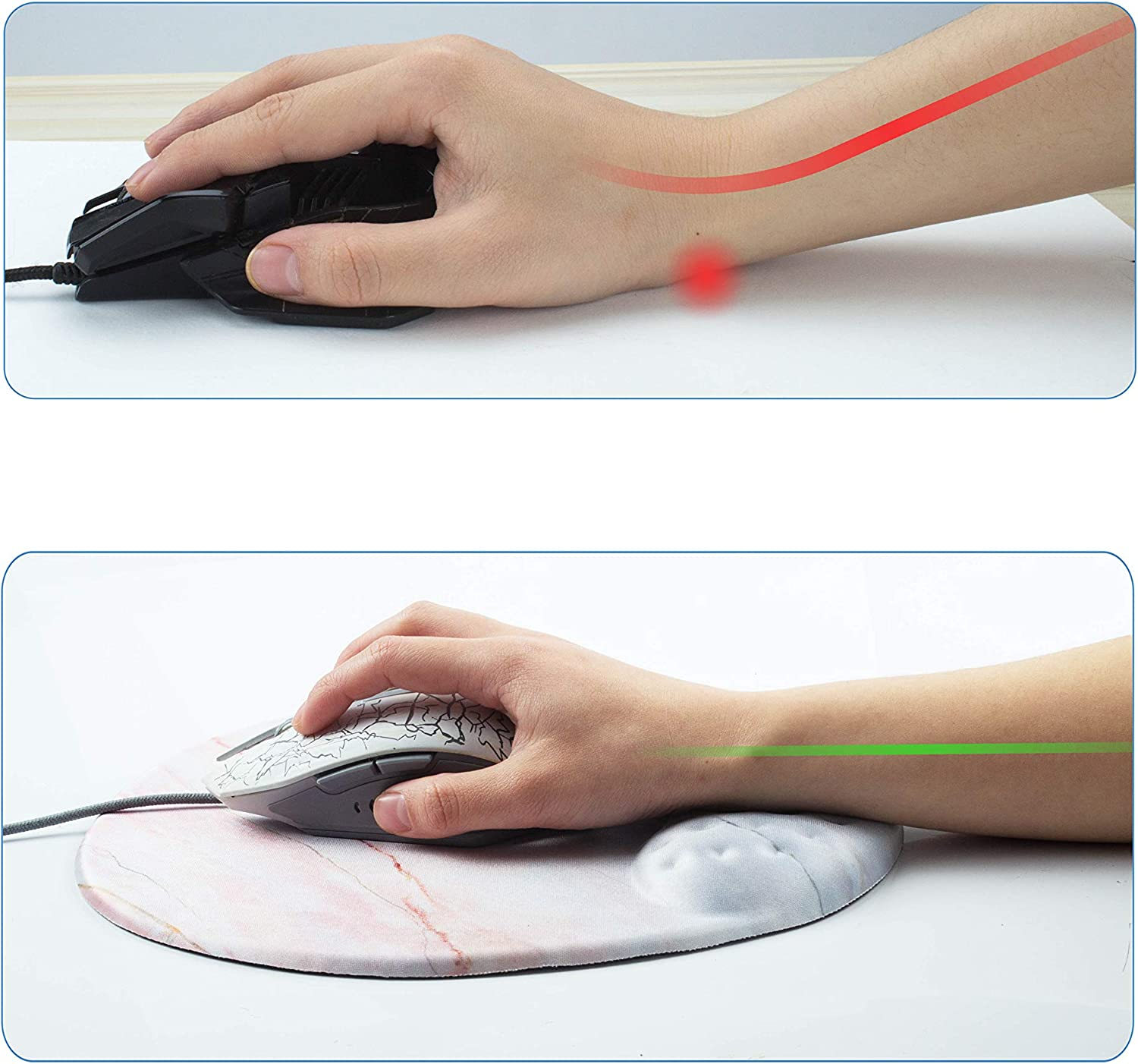 Skid Proof /& Pain Relief Easy Typing for Office Laptop Mac Computers BRILA Mouse Pad with Wrist Rest Support Pad Comfortable Medicinal Grade Memory Foam Gel with Pattern Design Rick