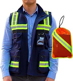 Chaleco de Seguridad Premium | Chaleco de Seguridad Industrial, Reflejante y Multifuncional con Cinta de Alta Visibilidad ...
