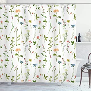 Ambesonne Floral Shower Curtain, Spring Season Themed Watercolors Painting of Herbs Flowers Botanical Garden Artwork, Cloth Fabric Bathroom Decor Set with Hooks, 70