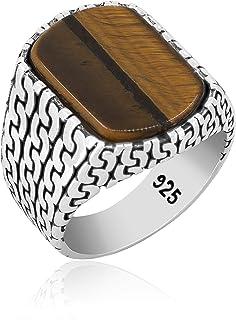 chimoda Mens Silver Knot Ring 925 Sterling Turkish Handmade Jewelry Men's Rings