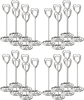 CERIZONA 3.4-inch Place Card Holders, Wire Picture Stands, Use at Weddings, Dinner Parties, Baby Showers, Birthdays| Home/Office Reminders, Messages, Photos, Name Cards, Menus 24 Pk (Silver_Heart, 24)