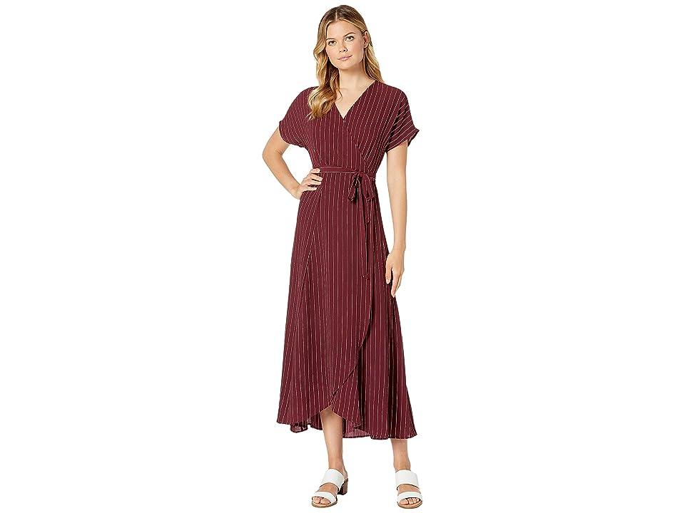 Bobeau Printed Wrap Maxi Dress (Burgundy/Ivory Stripe) Women