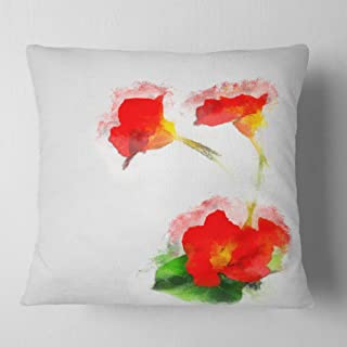 Designart Red Gentiana Alpina Watercolor' Floral Throw Cushion Pillow Cover for Living Room, sofa 18 in. x 18 in