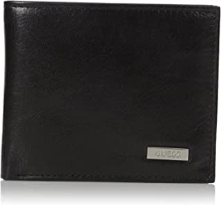 Men's Leather Passcase Wallet, Black/Silver, One Size