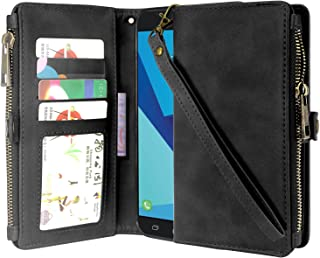 Galaxy J7 V Case, Galaxy J7 Perx Case, Linkertech Premium Leather Flip Zipper Wallet Case Cover with Card Holder & Wrist Strap for Samsung Galaxy J7 2017 / J7 Sky Pro/Galaxy Halo (Black)